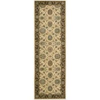Living Treasures Beige Wool Runner Rug - 2'6 x 12