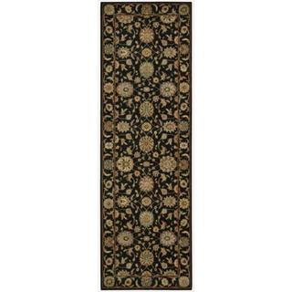Living Treasures Black Wool Runner Rug (2'6 x 12)