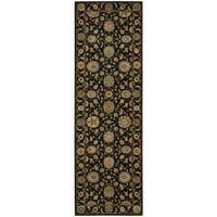 Living Treasures Black Wool Runner Rug - 2'6 x 12