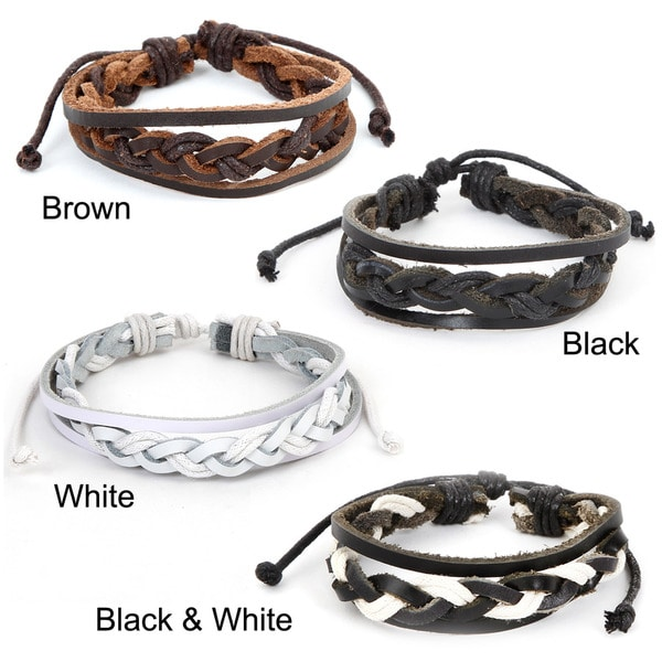 Leather Triple-strand Braided Center Bracelet