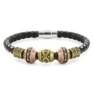 Tri-color and Black Leather Tribal Bead Bracelet