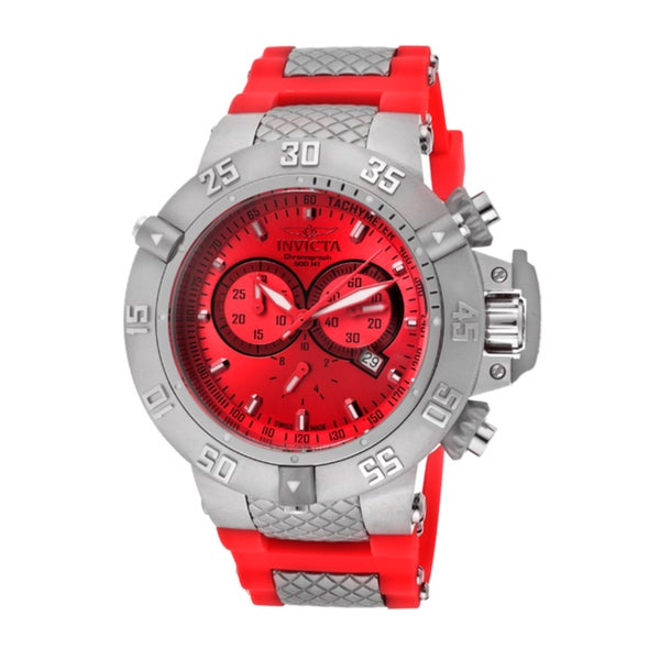 Invicta Men's 'Subaqua' Red Silicone Watch