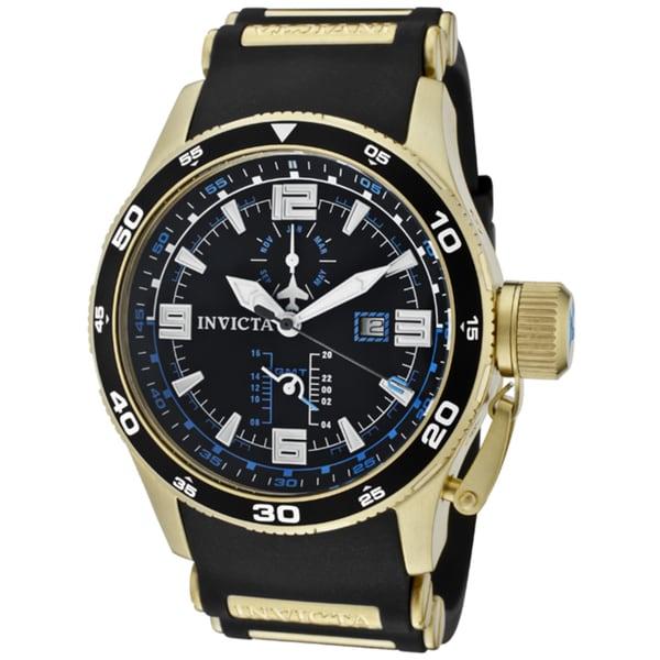 Invicta Men's 'Aviator' Black Polyurethane Watch