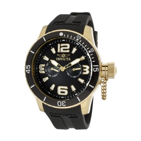 Invicta Men's 'Specialty/Corduba' Black Polyurethane Watch