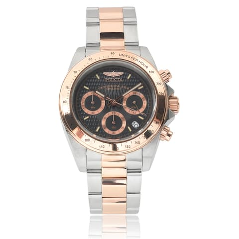 Invicta Men's 6932 'Speedway' Chronograph Rose-Tone and Silver Polyurethane Watch