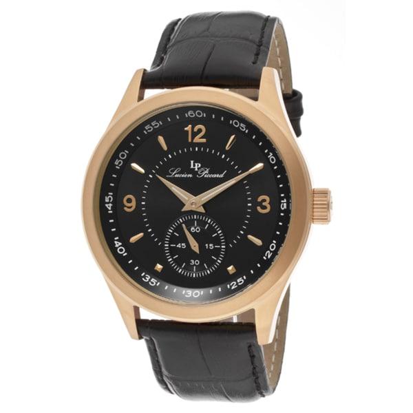 Lucien Piccard Men's 'Grande Casse' Black Genuine Leather Watch
