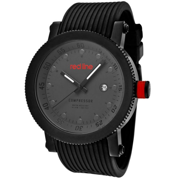 Red Line Men's 'Compressor' Black Silicone Watch