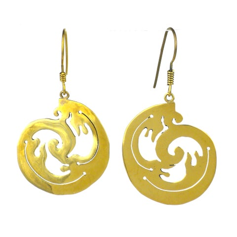 Handmade Recycled Wave Design Bomb Casing Earrings (Cambodia)