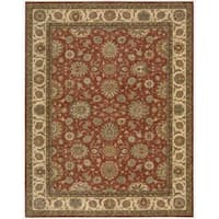 Living Treasures Rust Wool Rug - 7'6 x 9'6