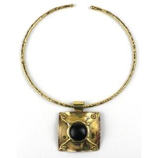 Handmade x Squared Dark Blue Tiger Eye Brass Pendant Necklace (South Africa)