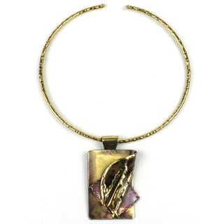 Handmade Layered Leaf Copper and Brass Pendant Necklace (South Africa)
