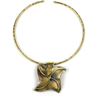 Handmade Brass Pinwheel Pendant Necklace (South Africa)