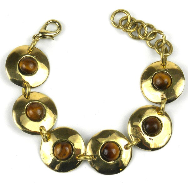 Handmade Bonbon Gold Tiger Eye Link Bracelet (South Africa)