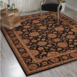 Living Treasures Black Wool Rug (8'3 x 11'3)