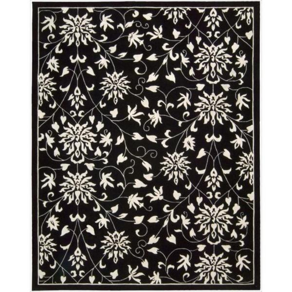 "Nourison Hand-tufted Versailles Palace Floral Black/White Rug (8' x 11') - 8' x 11"""