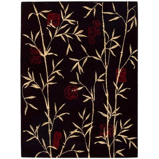 Chambord Asian Rayon from Bamboo Black Rug (3'6 x 5'6)