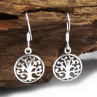 Handmade Sterling Silver Blossoming Tree of Life Dangle Earrings (Thailand)