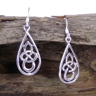 Silver Celtic Knot Tear Drop Dangle Earrings (Thailand)