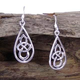 Handmade Silver Celtic Knot Tear Drop Dangle Earrings (Thailand)
