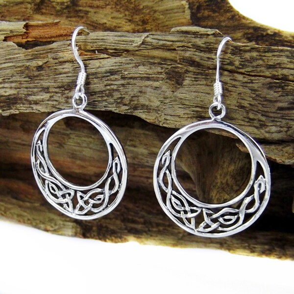 Handmade Silver Celtic Crescent Dangle Earrings (Thailand)