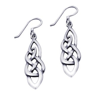 Handmade Silver Celtic Drop Dangle Earrings (Thailand)