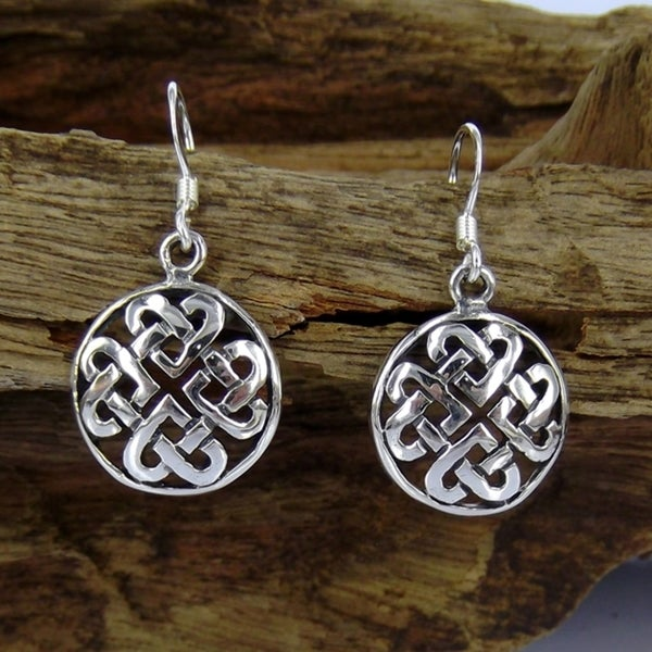 Handmade Sterling Silver Round Celtic Heart Knot Dangle Earrings (Thailand)