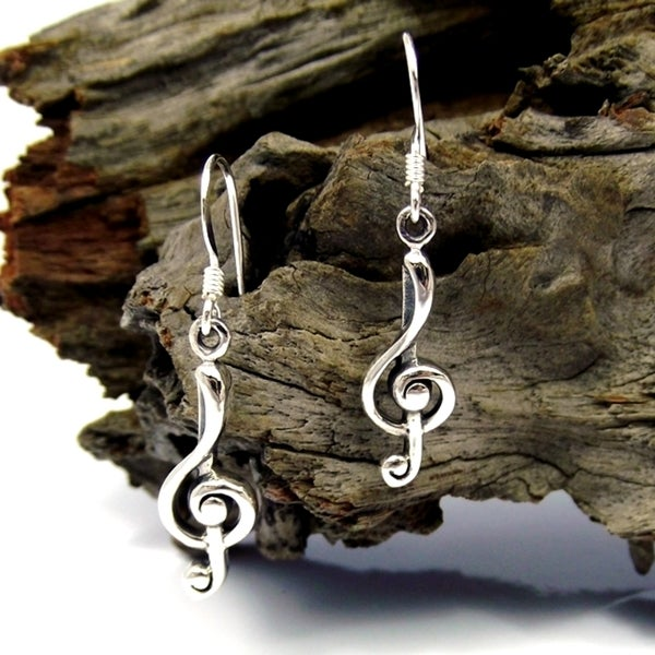 Sterling Silver Music Treble Clef Dangle Earrings (Thailand)
