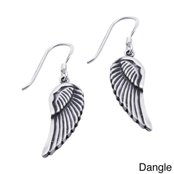 Handmade Sterling Silver Angel Wings Earrings (Thailand)