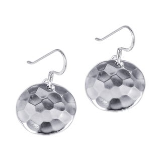 Sterling Silver Disc Hammer Texture Earrings (Thailand)