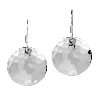 Nice Round Hammer Texture .925 Silver Earrings (Thailand)