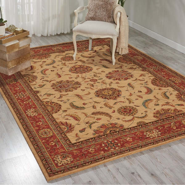 Living Treasures Ivory Red Rug - 7'6 x 9'6