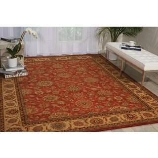 Living Treasures Floral Rust Wool Rug (5'6 x 8'3)