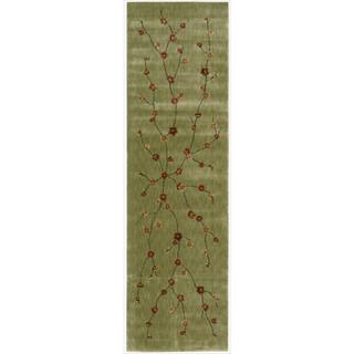 Chambord Cherry Blossom Green Runner Rug (2'3 x 8')