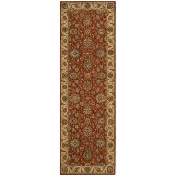 Living Treasures Floral Rust Wool Runner Rug (2'6 x 12)