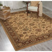 "Living Treasures Traditional Floral Beige Wool Rug - 3'6"" x 5'6"""