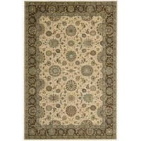 Living Treasures Traditional Floral Beige Wool Rug - 2'6 x 4'3