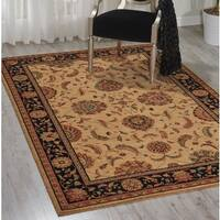 Living Treasures Traditional Floral Ivory and Black Wool Rug (8'3 x 11'3)