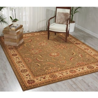 Living Treasures Traditional Floral Green Wool Rug (2'6 x 4'3)