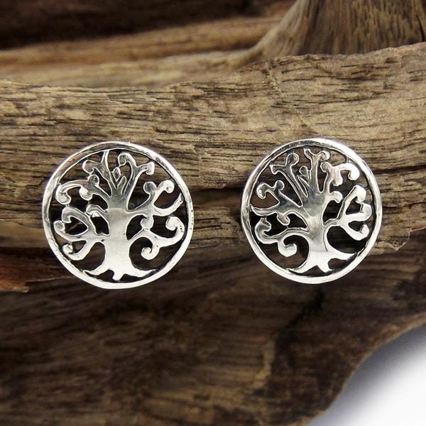 Handmade Sterling Silver Precious Tree of Life Stud Earrings (Thailand)