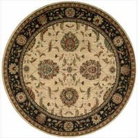 "Living Treasures Traditional Floral Ivory and Black Wool Rug - 5'10"" x 5'10"""