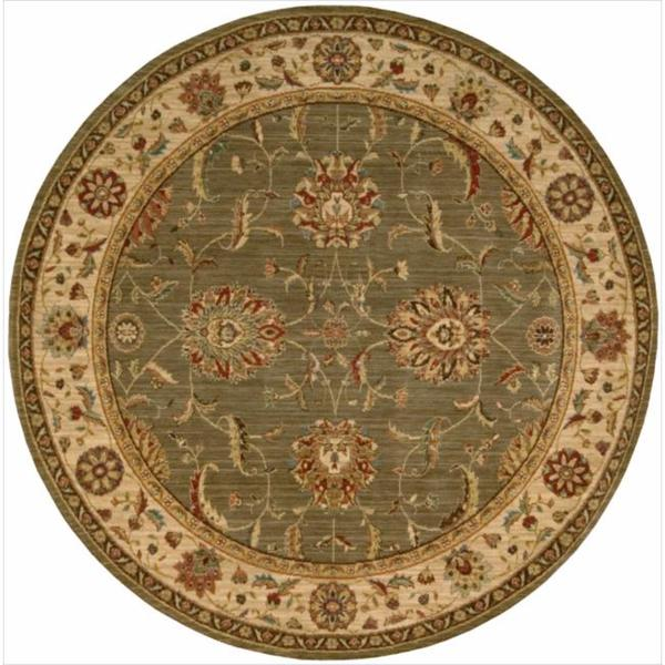 Living Treasures Traditional Floral Green Wool Rug (7'10 x 7'10 Round)