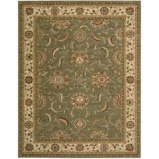 Living Treasures Traditional Floral Green Wool Rug (7'6 x 9'6)
