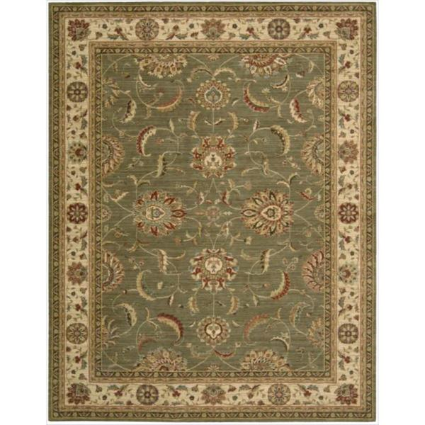 Living Treasures Traditional Floral Green Wool Rug - 7'6 x 9'6