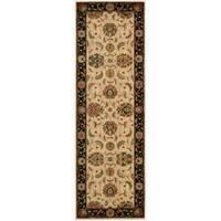 Living Treasures Floral Ivory and Black Wool Runner Rug (2'6 x 8)