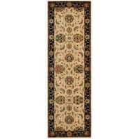 Living Treasures Ivory Black Runner Rug - 2'6 x 12'