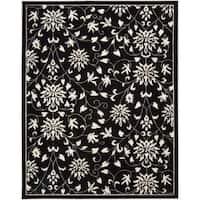 Nourison Hand-tufted Versailles Palace Floral Black/White Rug - 7'6 x 9'6