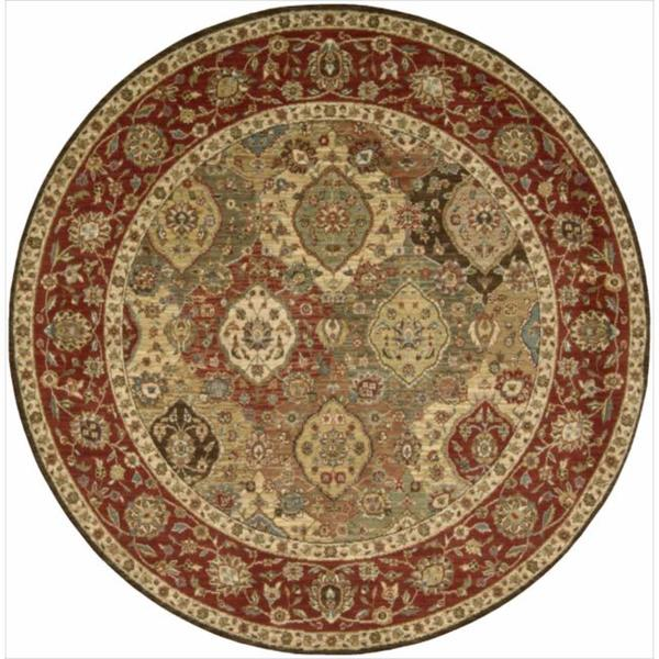 Living Treasures Traditional Floral Burgundy Wool Rug (5'10 x 5'10 Round)
