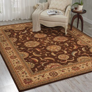 Living Treasures Traditional Floral Brown Wool Rug (3'6 x 5'6)