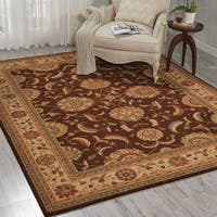 Living Treasures Traditional Floral Brown Wool Rug (3'6 x 5'6)
