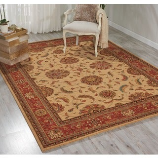Living Treasures Traditional Floral Ivory and Red Wool Rug (5'6 x 8'3)